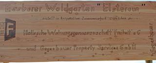 Hinweisschild am Waldgarten für den Waldgarten