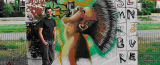 """Graffitikünstler Friedrich Benzler vor """"Bibo 2013"""""""